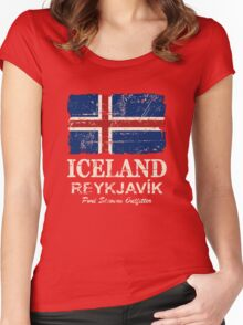 Iceland Flag - Vintage Look Women's Fitted Scoop T-Shirt