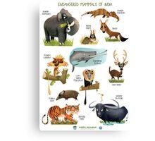 Endangered Mammals of India Canvas Print