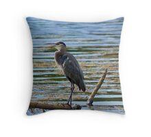 Blue Heron Perching... Throw Pillow