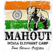 India Elephant Flag - Vintage Look Poster