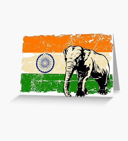 India Elephant Flag - Vintage Look Greeting Card