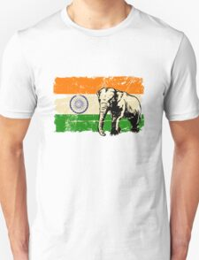 India Elephant Flag - Vintage Look Unisex T-Shirt