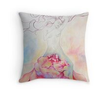 The Flower-Woman Throw Pillow