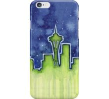 Seattle Night Skyline Watercolor iPhone Case/Skin