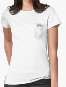 CAT SLEEP-POCKET (choose light grey or white for shirts) Womens Fitted T-Shirt