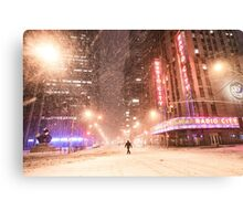City Snow at Night - New York City Canvas Print