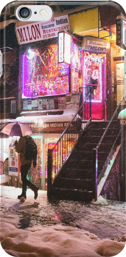 East Village - Colorful Lights in the Snow - New York City by Vivienne Gucwa