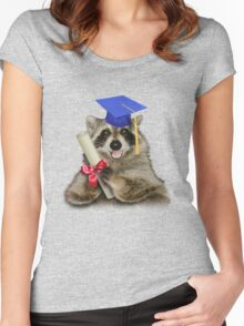 Graduation Raccoon Women's Fitted Scoop T-Shirt