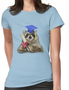 Graduation Raccoon Womens Fitted T-Shirt