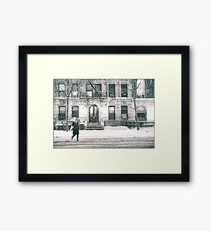 Snow at Night - New York City Framed Print