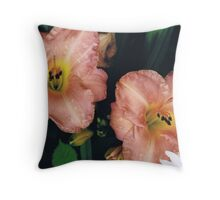 Flowers with Water Droplets Throw Pillow