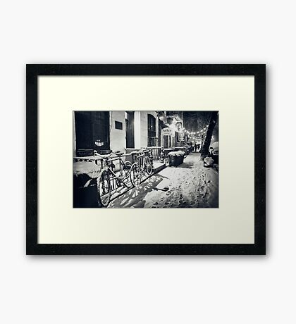 Winter Night - East Village - New York City Framed Print