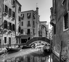 Strolling on the Fondamenta Frari - B&W by Tom Gomez