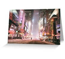 Snow on a Winter Night - Times Square - New York City Greeting Card