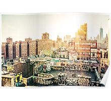 Graffiti Rooftops at Sunset - Chinatown - New York City Poster