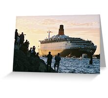 The QE2 leaves Fremantle harbour/B Greeting Card