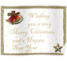 Christmas card Gold Poster