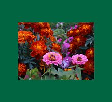 Flowerbed with Zinnias and Marigolds Womens Fitted T-Shirt