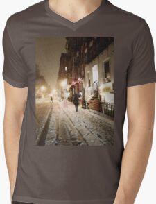 Snowy Night - Lower East Side - New York City Mens V-Neck T-Shirt