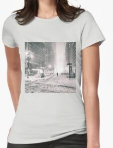 New York City - Winter - Empty Streets Womens Fitted T-Shirt