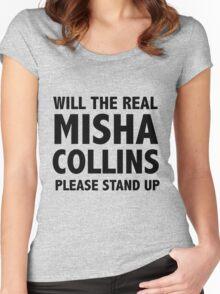 WILL THE REAL MISHA COLLINS PLEASE STAND UP Women's Fitted Scoop T-Shirt