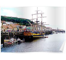 Grand Turk in Scarborough Harbour Poster
