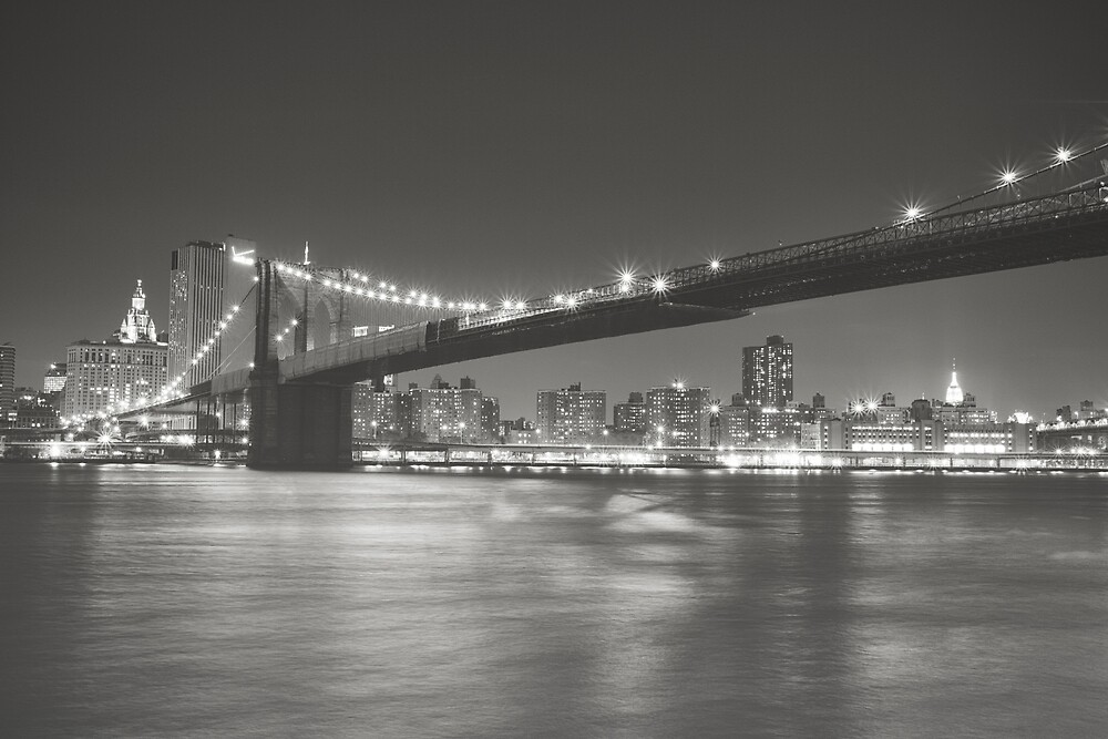 City Night - New York - Brooklyn Bridge by Vivienne Gucwa