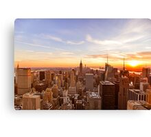 New York City Skyline - Skyscrapers at Sunset Canvas Print