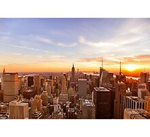 New York City Skyline - Skyscrapers at Sunset Photographic Print