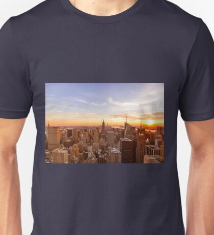 New York City Skyline - Skyscrapers at Sunset Unisex T-Shirt
