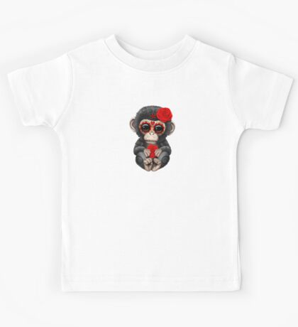 Red Day of the Dead Sugar Skull Baby Chimp Kids Tee