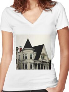Ghostly Gothic Women's Fitted V-Neck T-Shirt