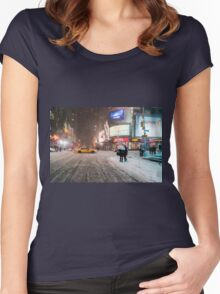 Times Square in the Snow - Winter in NYC Women's Fitted Scoop T-Shirt
