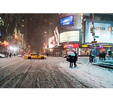 Times Square in the Snow - Winter in NYC Photographic Print