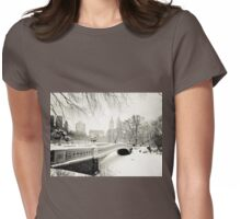 Winter - Central Park - Bow Bridge - New York City Womens Fitted T-Shirt