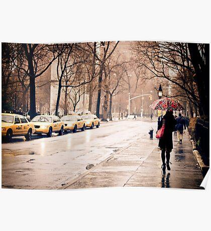 Rain - Washington Square - New York City Poster