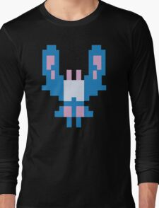 Blue Space Bug Classic 80s Arcade  Long Sleeve T-Shirt