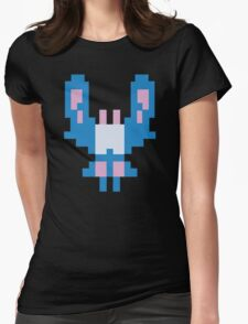 Blue Space Bug Classic 80s Arcade  Womens Fitted T-Shirt
