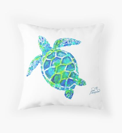 Sea Turtle no splots by Jan Marvin Throw Pillow