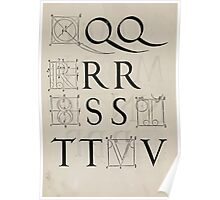 Measurement With Compass Line Leveling Albrecht Dürer or Durer 1525 0134 Alphabet Letters Calligraphy Font Poster