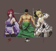 fate zero stay night one piece fairy tail zoro saber erza anime manga shirt by ToDum2Lov3