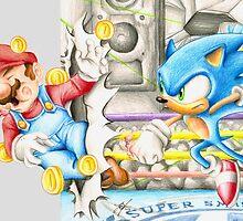 Sonic v Mario by RevxArt