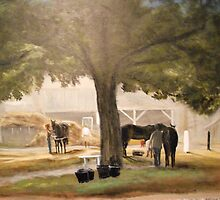 Thoroughbreds at Early Dawn, Saratoga by Jsimone