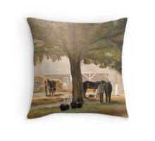 Thoroughbreds at Early Dawn, Saratoga Throw Pillow