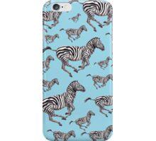 Zebra Running Blue iPhone Case/Skin