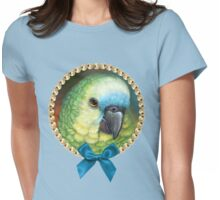 Blue fronted amazon parrot realistic painting Womens Fitted T-Shirt