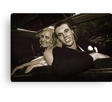 Inside the Wedding Limo Canvas Print
