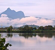 Mt Warning morning reflections by Odille Esmonde-Morgan