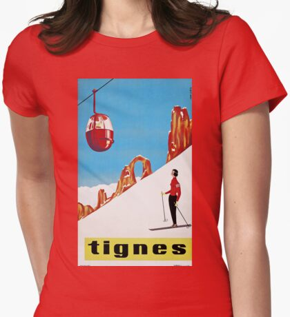 She Skis Alone, Vintage ski sport poster art Womens Fitted T-Shirt