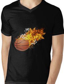 Flaming Basket Bal Mens V-Neck T-Shirt